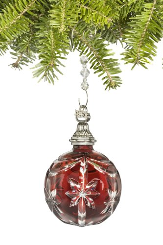 Red Cased Ball Ornament - Waterford Crystal 2007 Red Cased Ball Ornament