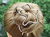 Wave Plain Hammered Bun Holder Clip with Fork Metal Jewelry Hair Accessories women gift