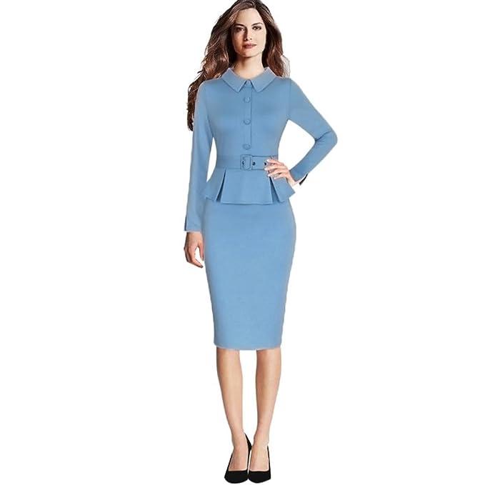 aa4b635af Ouneed Vestidos para Mujer Vintage Elegantes Manga Larga Mujer Oficina de  Trabajo Formal lápiz Vestido de