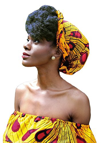 "African Head Wrap HongyuAmy Extra Long 72""x22"" African Wax Print Head Scarf Tie (Gold Red)"