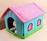 Komia Pet Igloo Bed Warm Polka Dot House Indoor Cave for Cat Puppy Play Room Bed