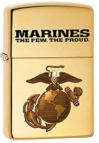 US Marines, The Few, The Proud, Solid Brass EGA Logo Zippo Lighter (Zippo Brass Lighter Solid)