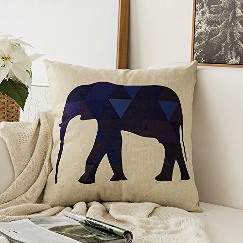 Miulee Animal Series Navy Blue Elephant Cotton Linen Decorative Throw Pillow Case Cushion Cover Pillowcase for Sofa Bed Car 18 x 18 Inch 45 x 45 Cm