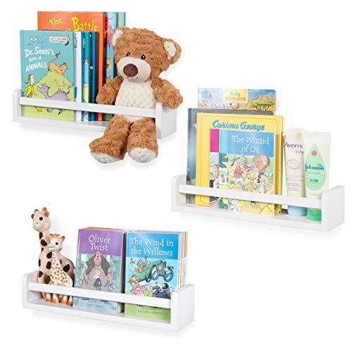 Nursery Décor Wall Shelves - 3 Shelf Set - Floating Bookshelves for Baby & Kids Room, Book Organizer Storage Ledge, Display Holder for Toys, CDs, Spice Rack - Ships Assembled (White)]()