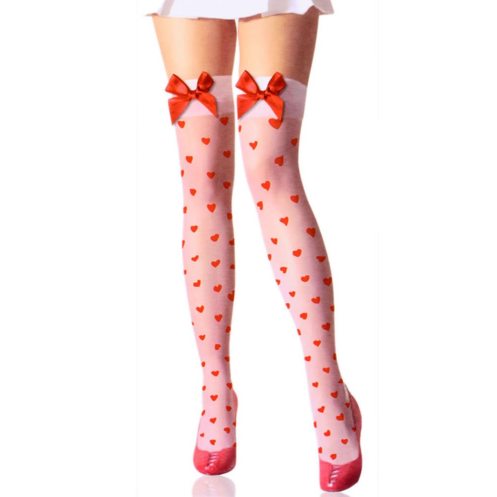 Women's Sexy Red Heart Pattern Red Bow White Thigh-High Stockings - DeluxeAdultCostumes.com