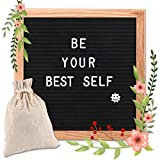 Felt Letter Board, 10 x 10 Oak Frame Changeable Letter Board, Letter Board with 340 Letters, Emojis, Icons and Symbols, Canvas Bag Wall Mount and Scissors