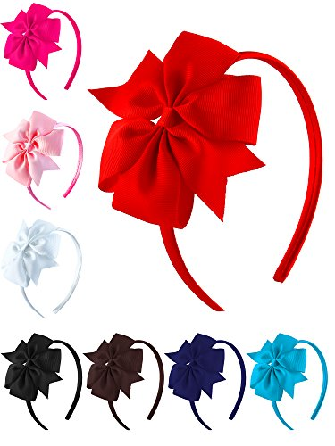 Make Satin Ribbon Roses - Aneco 8 Pack Girls Grosgrain Ribbon Headband with Bows Tie Hair Hoop Bows Headband Hair Accessories, 8 Colors (Color set 1)