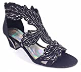Enzo Romeo Lime03N Womens Open Toe Mid Heel Wedding Rhinestone Gladiator Sandal Wedge Shoes (9, Black)