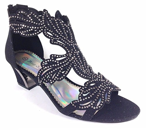 Enzo Romeo Lime03N Womens Open Toe Mid Heel Wedding Rhinestone Gladiator Sandal Wedge Shoes (9, Black) by Enzo Romeo