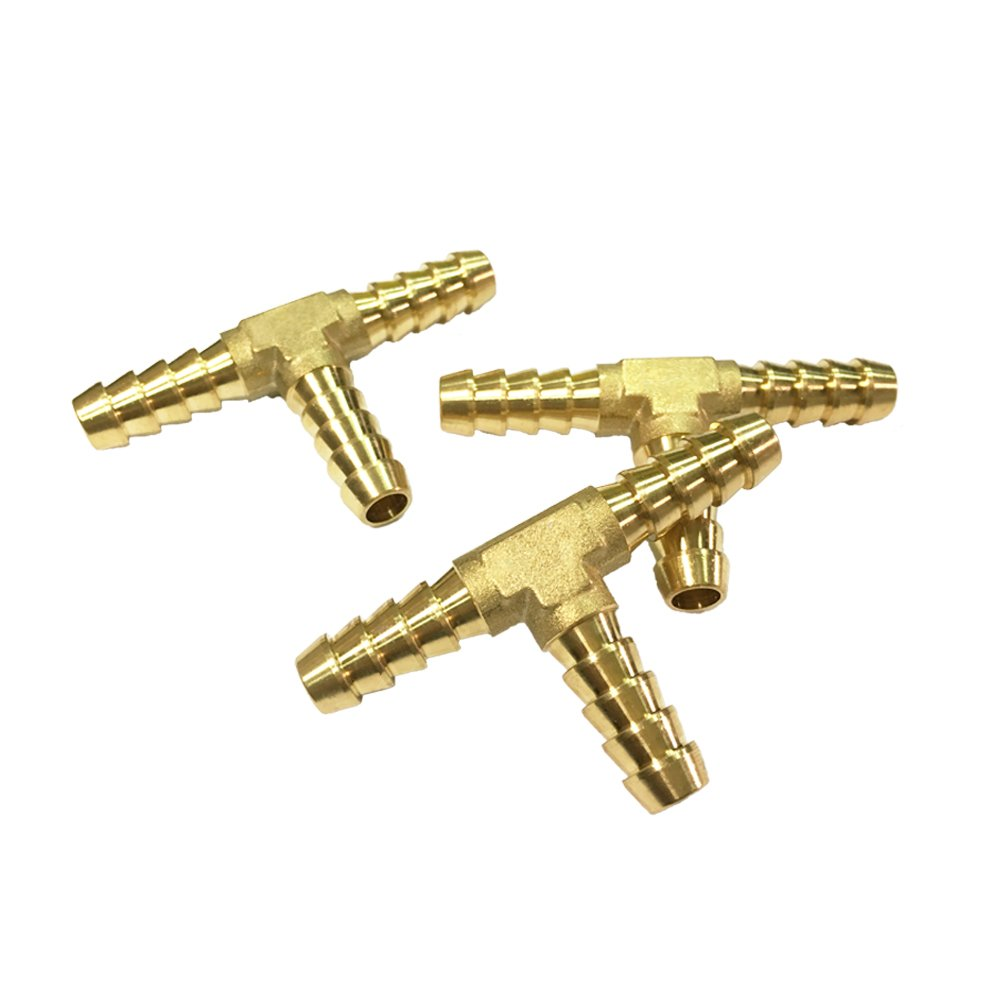 NIGO 3-Way Tee Brass Hose Fitting 5/16'' x 5/16'' x 5/16'' Barb - 3 Pack