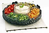 Artimino Venetian 5-section Lazy Susan Server - Attractive Hammered Glass Lazy Susan Chip and Dip Serving Dish in a Antique Metal Scroll-work Base