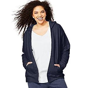 Just My Size by ComfortSoft EcoSmart Fleece Full-Zip Women's Hoodie_Navy Htr_3XL