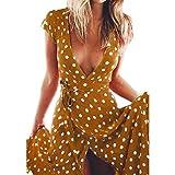 JESPER Women Summer Polka Dot Boho Long Evening Party Cocktail Dress Beach Dress Sundress Coffee