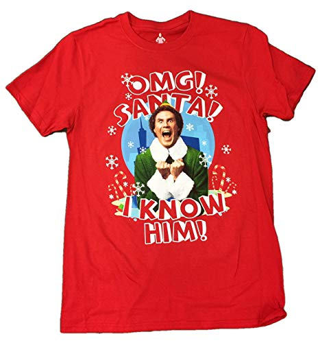 Wdw Halloween Decorations (Retro Wear Men's Buddy The Elf OMG Santa Will Ferrell Holiday Christmas Tee T-Shirt (Large)