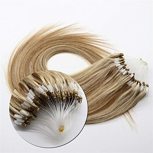 Micro Ring Loop Remy Human Hair Extensions 0.5g/Strand,50G Camel Brown Mix Blonde Straight Virgin Hair Extension Micro Beads 20 Inch Piano Color 8/613