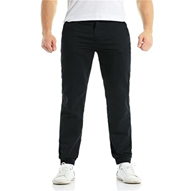 Fuibo Pantalon Homme Clearance Casual Chino Elégant Slim Fit