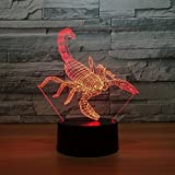 Circle Circle Animal Scorpion Colorful Gradients 3D Optical Illusion Lamp 7 Colors Change and 15 Keys Remote Control Children Kids Bedside Table LED Night Light