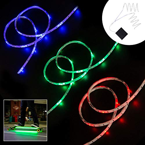 DANCRA LED Strip Lights Battery Powered, Dimmable RGB LED Light Strip for Skateboard, DC6V Scooter Decoration Light with Mini Controller (RGB)