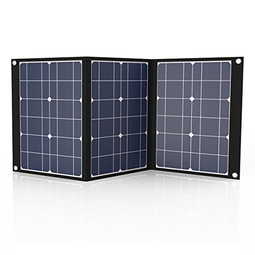 Tishi Hery 50 Watts 18 V 12 V Portable Solar Charger Foldable Monocrystalline Solar Panel Charger with MC4 Connector & Dual-Port(USB 5V + DC 18V) for Camping, Hiking ()