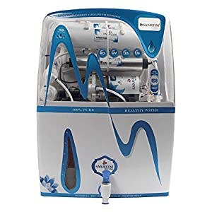 SANJEEVNI Water Purifier RO+UV+UF+ Mineral +TDS Adjuster+ Pre Filter, 14 Stage Fully Automatic RO Water Purifier with 15 Litre Storage White/Blue_Transparent Unit