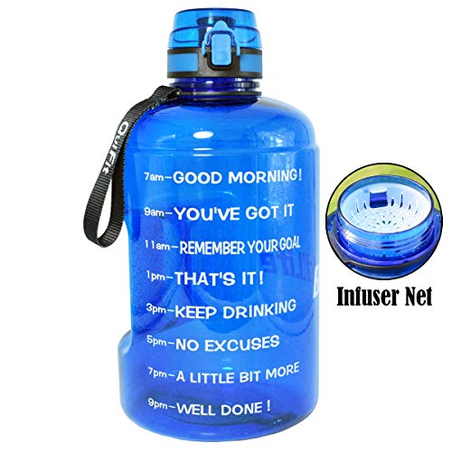BuildLife Gallon Motivational Water Bottle Wide Mouth with Time Marker/Flip Top Leakproof Lid/One Click Open/Large BPA Free Capacity for Fitness Goals and Outdoor(Blue, 1 Gallon)