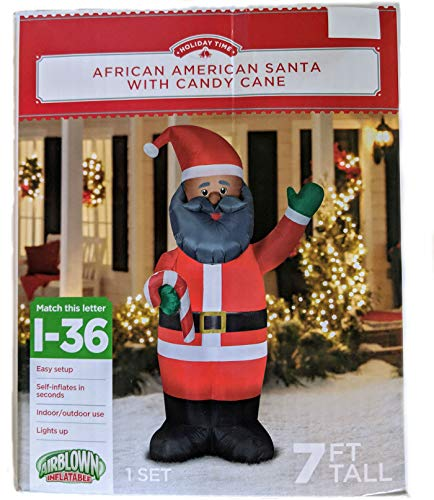 MISC Airblown Inflatable African American Santa with Candy Cane - 7ft - Indoor/Outdoor