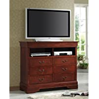 Coaster TV Dresser Stand Louis Philippe Style in Cherry Finish