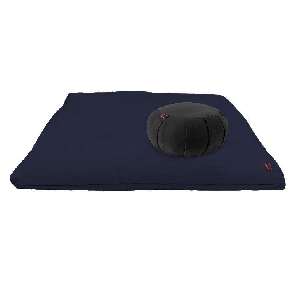 YogavniTM Yoga Meditation Deluxe Studio Grade Kit (set) by Yogavni (TM) (Blue Zabuton and Black Round Zafu with Cotton Filled) by YogavniTM (Image #2)