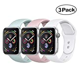 BicasLove Compatible for Apple Watch Band 38mm Silicone Replacement Sport Strap Compatible for iWatch Bands Women Men S/M 3 Pack D