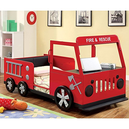 Furniture of America Rescue Team Fire Truck Metal Youth Bed