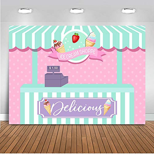 (Mocsicka Ice Cream Store Backdrop 7x5ft Baby Shower Backgroud Cake Sweets Shoppe Photography Backdrop Strawberry Girl Birthday Party Photography Background)