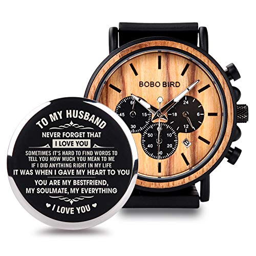 BOBO BIRD Mens Personalized Engraved Wooden Watche, Stylish Wood & Stainless Steel Combined Quartz Casual Wristwatches for Men Family Friends Customized Gift (A-for Husband) (Watch Personalizes Box)