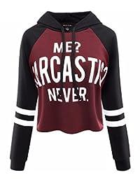 NANYUAYA Women Long Sleeve Letters Printed Crop Top Casual Sweatshirt Hoodies