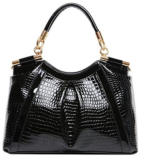 BG® Women Alligator Pattern Gold Accent Woven Handles Black Patent Leather Handbags with Shoulder Strap