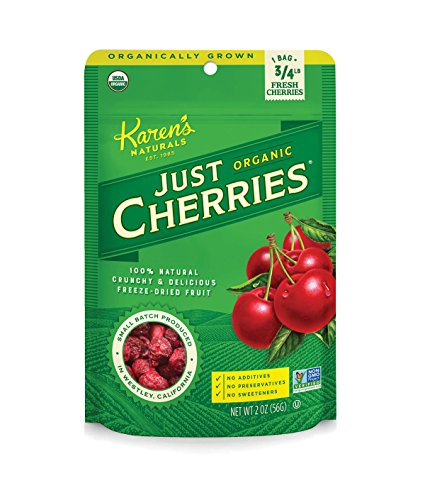 Karen's Naturals Organic Just Cherries, 2 Ounce Pouch (Packaging May Vary) Organic All Natural Freeze-Dried Fruits & Vegetables, No Additives or Preservatives, Non-GMO