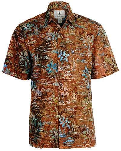 Artisan Outfitters Mens Palm Desert Batik Cotton Shirt (Medium, Brown) A0214-72-M