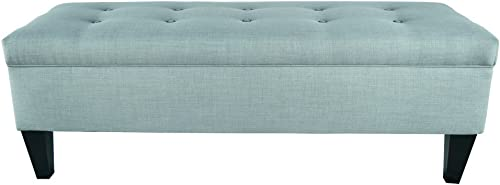MJL Furniture Designs Brooke Collection Button Tufted Upholstered Long Bedroom Storage Bench, HJM100 Series, Sea Mist