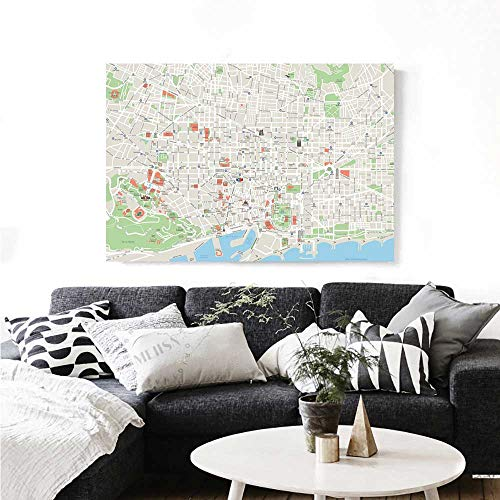 Map Wall Art Canvas Prints Map of Barcelona City Streets Parks Subdistricts Points of Interests Ready to Hang for Home Decorations Wall Decor 20