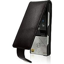iGadgitz Black Leather Flip Case Cover for Sony Walkman NWZ-A15 NWZ-A17 NW-A25 NW-A27 8GB 16GB 32GB & 64GB with Detachable Carabiner + Belt Loop + Magnetic Closure + Screen Protector