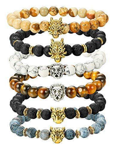Finrezio 6PCS Mens Bead Bracelets Set Dragon/Lion/Panther Charm Lava Rock Natural Stone Bracelet, 8MM (Style A: 6Pcs of Elastic)