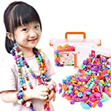 485 Pcs DIY Snap Pop Beads Jewelry Making Kit Connectors Threading Bead Set Necklace Ring Bracelet Art Crafts Arty Kids Girls Toddlers Age 3yr-14yr Creativity Happy Time Fun Toy Birthday Gift Party