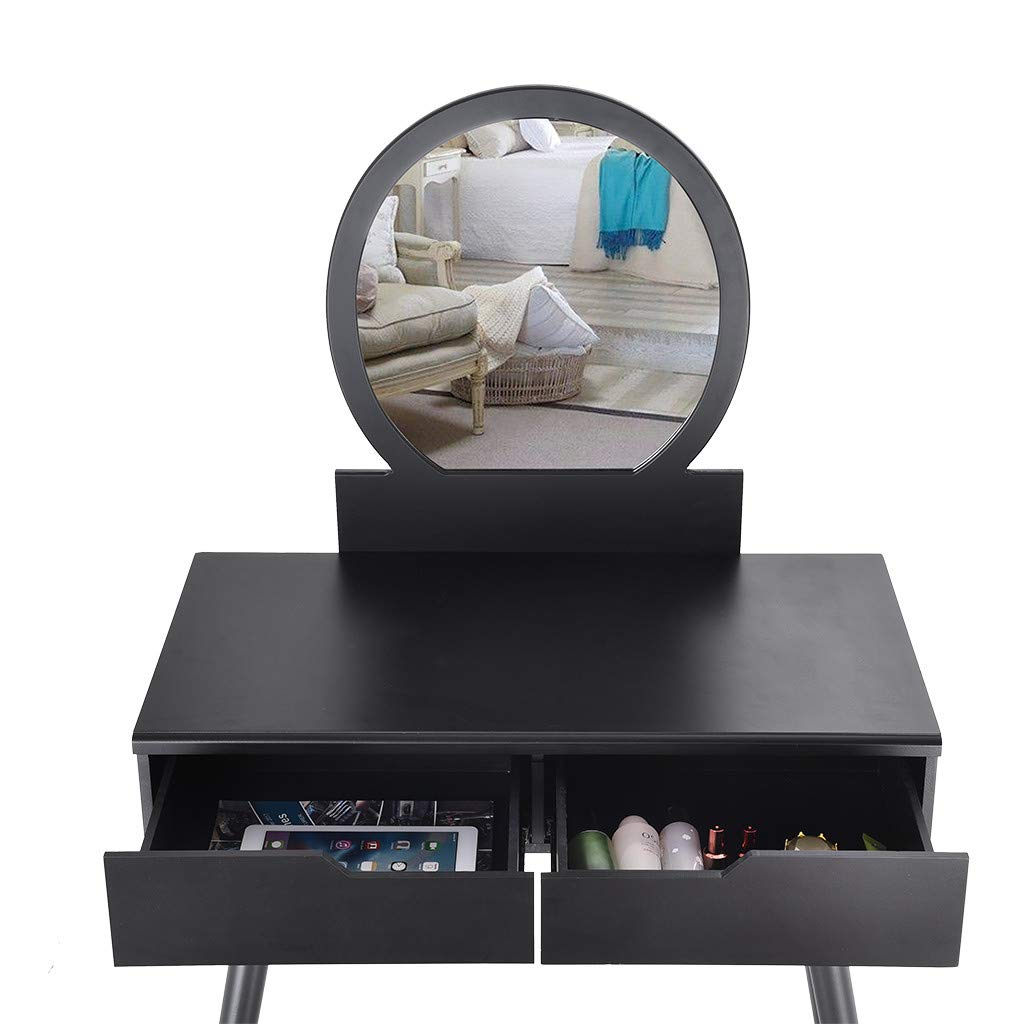 Sonmer Vanity Set with Mirror, Cushioned Stool, Storage Shelves, Drawers Dividers ,3 Style Optional, Shipped from US - Two Day Shipping (#2, Black) by Sonmer (Image #7)