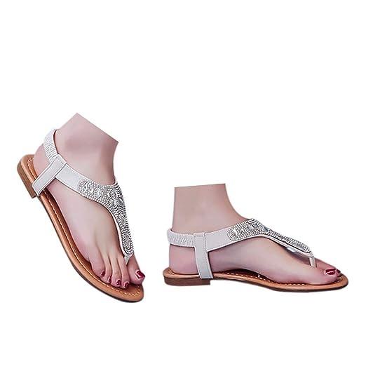 2cf5d6bcb6310 Amazon.com: Veodhekai Womens Flip Flops Sandals Rhinestones Raman ...