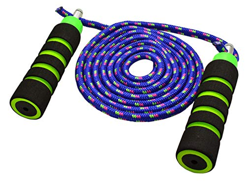 Annas Rainbow Double Dutch Jump Rope - 14ft Long Skipping Rope for Indoor/Outdoor/Playground - Durable Adjustable 8mm Nylon Cord - Exercise Toy with Lightweight Foam Handles