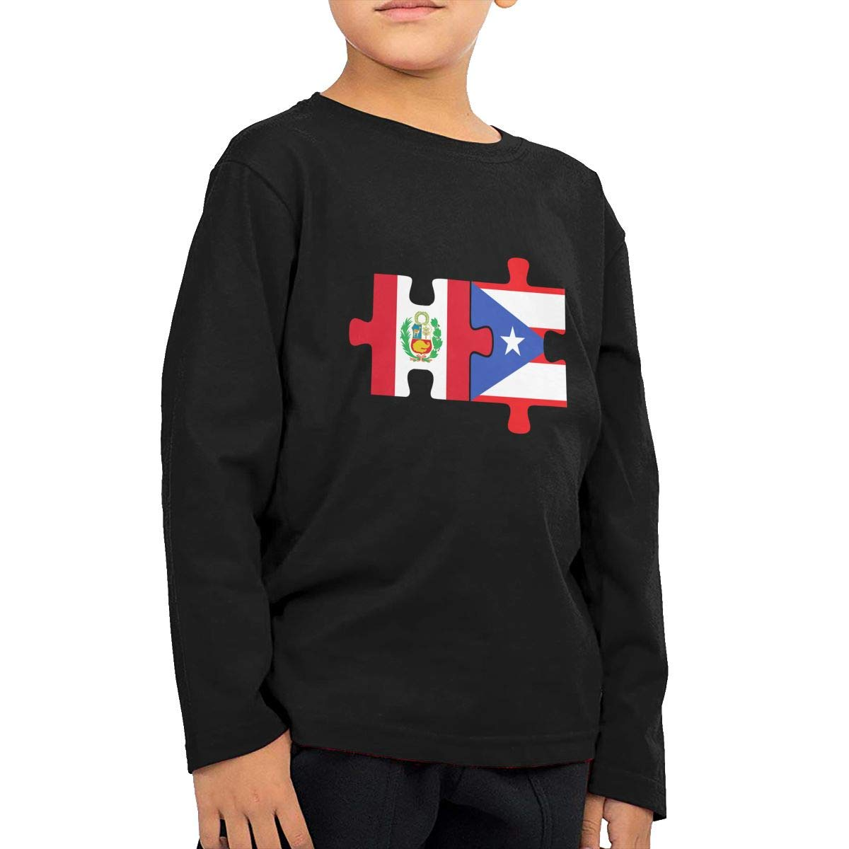 Newborn Childrens Peru Puerto Rico Flags Puzzle Printed Long Sleeve 100/% Cotton Infants T-Shirts