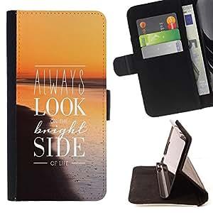 BullDog Case - FOR/HTC Desire 820 / - / look bright side life positive quote inspiration /- Monedero de cuero de la PU Llevar cubierta de la caja con el ID Credit Card Slots Flip funda de cuer