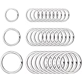Willbond Round Flat Key Chain Rings Metal Split Ring for Home Car Keys Organization, 3/4 Inch, 1 Inch and 1.25 Inch, 30 Pieces, Silver