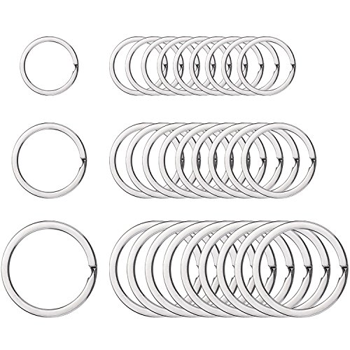 - Round Flat Key Chain Rings Metal Split Ring for Home Car Keys Organization, 30 Pieces (Silver, 3/4 Inch, 1 Inch and 1.25 Inch)