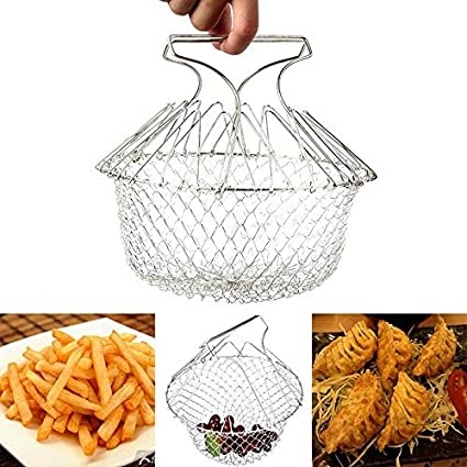 Chef Basket 12 in 1 Kitchen Tool for Cook / Boiling Solid Steel Delux / Stainless Steel Strainer / Steamer Basket Oil Strainer / Fish Basket Deep / French Fry / Deep Fry / Chips Baskets / Snack…