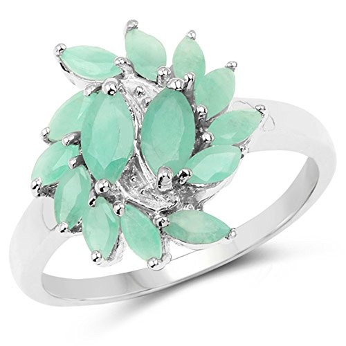 Genuine Marquise Emerald Ring (Genuine Marquise Emerald Ring in Sterling Silver - Size 7.00)